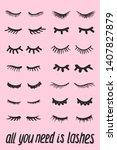 eyelashes cartoon set. cute... | Shutterstock .eps vector #1407827879
