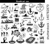 doodle set   sea