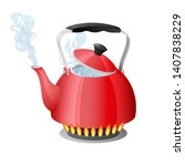 red kettle with boiling water... | Shutterstock .eps vector #1407838229