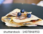 homemade crepes in closeup with ...   Shutterstock . vector #1407846953