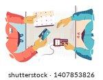 flat young man employee...   Shutterstock .eps vector #1407853826