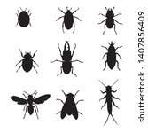 set of insects collection.... | Shutterstock .eps vector #1407856409