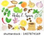 watercolor herbs illustration ... | Shutterstock . vector #1407874169
