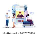 students watching online... | Shutterstock . vector #1407878006
