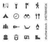 summer camping vector icons set ...