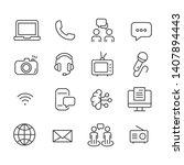 communication icon set. media...   Shutterstock .eps vector #1407894443