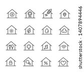 set of home with sign.  house...   Shutterstock .eps vector #1407894446