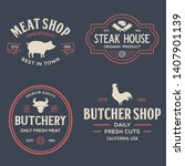 set of butcher shop and... | Shutterstock .eps vector #1407901139