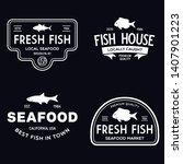 vector set of fresh fish labels ...   Shutterstock .eps vector #1407901223