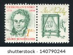Small photo of CZECHOSLOVAKIA - CIRCA 1991: stamp printed by Czechoslovakia, shows Alois Senefelder, lithographer, circa 1991