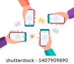 hands holding phone with... | Shutterstock .eps vector #1407909890