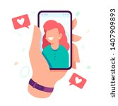 video call with loved one. male ... | Shutterstock .eps vector #1407909893
