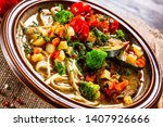 ramen   soup with noodles and... | Shutterstock . vector #1407926666