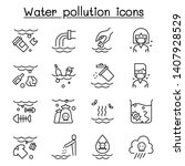 water pollution  contaminate ... | Shutterstock .eps vector #1407928529