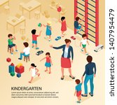 first day kindergarten... | Shutterstock .eps vector #1407954479