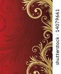 Floral Red And Gold Background