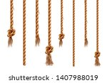 set of isolated hanging ropes... | Shutterstock .eps vector #1407988019