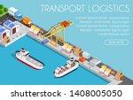 port cargo ship transport... | Shutterstock .eps vector #1408005050