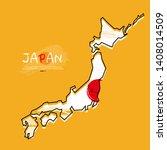 map of japan with  brush stroke ...   Shutterstock .eps vector #1408014509