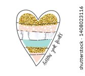 heart with gold sequins and... | Shutterstock .eps vector #1408023116