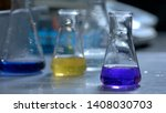 flasks with yellow and blue...   Shutterstock . vector #1408030703