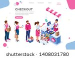 supermarket  line waiting... | Shutterstock .eps vector #1408031780
