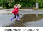 very cute little girl in red... | Shutterstock . vector #140803870
