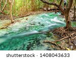 river stone and tree in forest  ... | Shutterstock . vector #1408043633