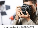 young man taking photo with... | Shutterstock . vector #140804674