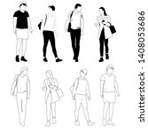 vector silhouettes men and... | Shutterstock .eps vector #1408053686