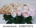 a bouquet of large pink roses... | Shutterstock . vector #1408075376
