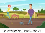 Stock vector pets walking animals happy owners outdoor in park running or cycling with dogs activity vector 1408075493