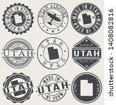 utah set of stamps. travel... | Shutterstock .eps vector #1408082816