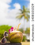 summer tropical cocktail in... | Shutterstock . vector #1408101029