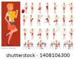 set of business woman character ... | Shutterstock .eps vector #1408106300