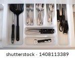 many kitchen utensils are... | Shutterstock . vector #1408113389