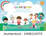 happy children playing in... | Shutterstock .eps vector #1408114373