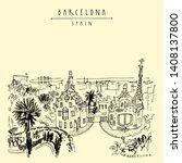 barcelona  catalonia  spain.... | Shutterstock .eps vector #1408137800