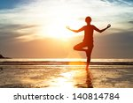 silhouette woman practicing... | Shutterstock . vector #140814784