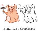 vector illustration of a cute... | Shutterstock .eps vector #1408149386