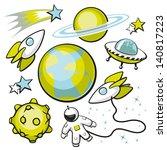 set of space objects. cartoon... | Shutterstock .eps vector #140817223