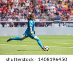 Small photo of Harrison, NJ - May 26, 2019: Goalkeeper Cecilla Santiago (1) of Mexico kicks ball during friendly game against USA as preparation for Womens World Cup on Red Bull Arena USA won 3 - 0