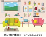 the living room with furniture... | Shutterstock .eps vector #1408211993