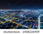 modern city with wireless... | Shutterstock . vector #1408226909