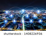 modern city with wireless... | Shutterstock . vector #1408226936