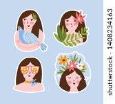 female sticker set. harmony... | Shutterstock .eps vector #1408234163