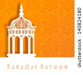 intricate arabic lamp on orange ... | Shutterstock .eps vector #140824180