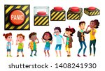 panic characters people and red ... | Shutterstock .eps vector #1408241930