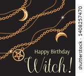happy birthday witch. greeting... | Shutterstock .eps vector #1408257470