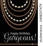 happy birthday gorgeous.... | Shutterstock .eps vector #1408257479